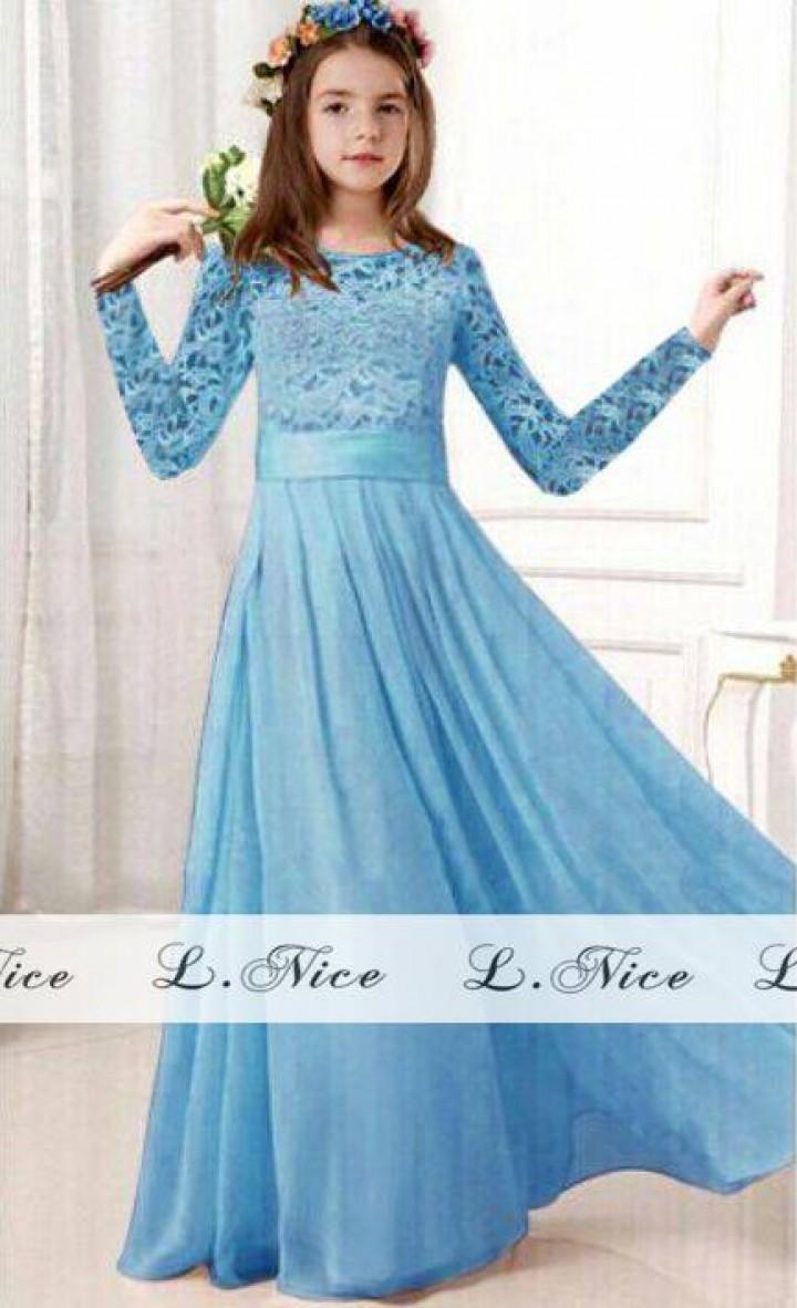 Gmsl 0024 Baju Gamis Anak Import Elegant Long Dress Biru Download Photo 1