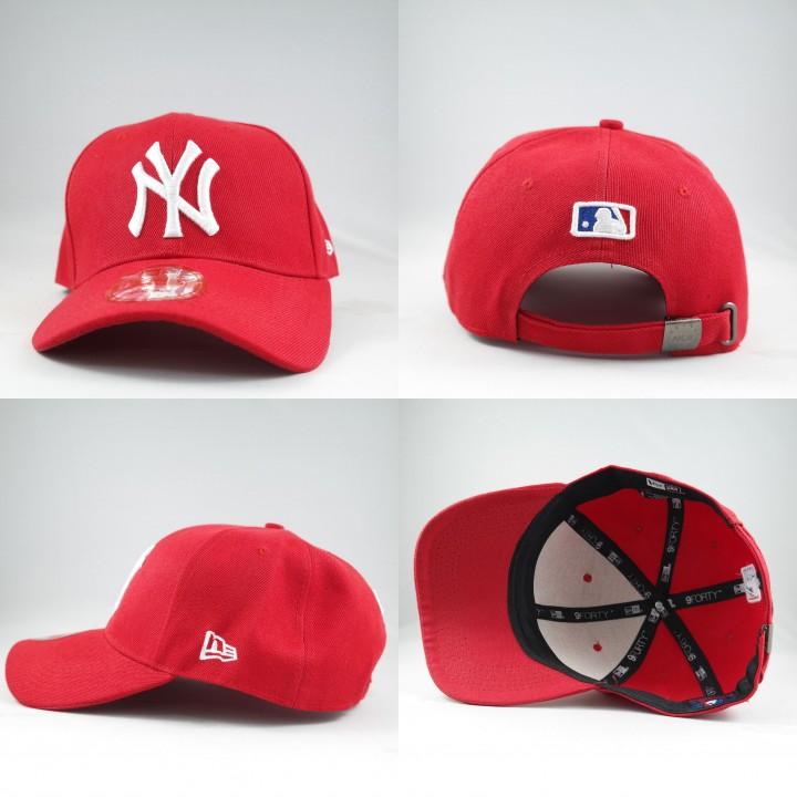 facb258bc BJS - Bandung Jersey Shop - TOPI SNAPBACK MELENGKUNG MLB NEW YORK YANKEES  MERAH LOGO PUTIH