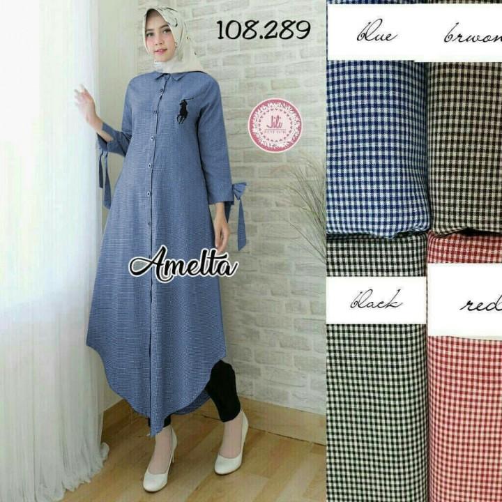 LEXOIR.COM - Baju Atasan Wanita Maxi Muslim Maxi Tunik Amelta Biru ... 5a4fc2fddf