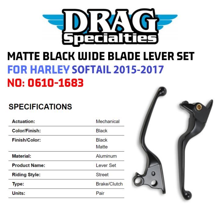 Drag Specialties Black Wide Blade Lever Set 2015-2017 Harley Softail