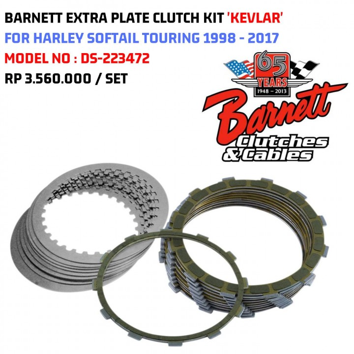 V-Twin Mfg Easy Pull Clutch Kit Fits Harley-Davidson Twin Cam Dyna Fat Bob Heritage Softail FLH FXD 2000-2017