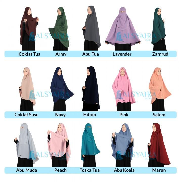 Alsyahra Exclusive Alsyahra Set Long Khimar Al Haramain Niqab Bandana Wolfis Premium