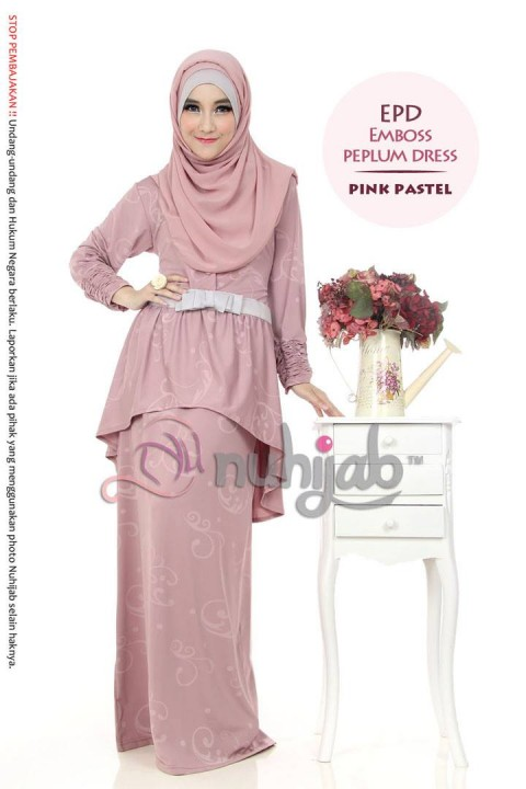 Emboss Pepplum Dress (EPD) - Pink Pastel