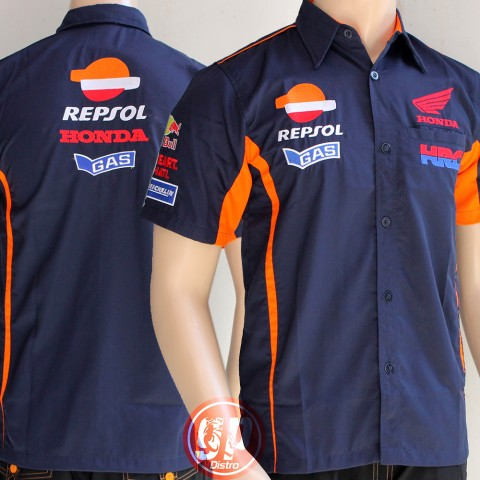 Kemeja Repsol Crew Biru Dongker 2016 Michelin