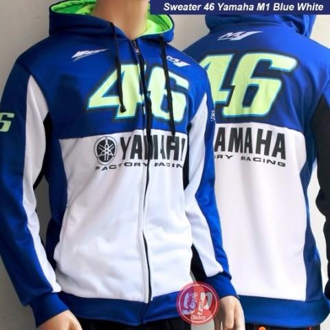 Sweater 46 Yamaha M1 Biru Putih
