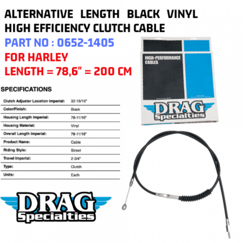 Drag Specialties 78-11//16 Inch Black Vinyl Clutch Cable For Harley 0652-1405