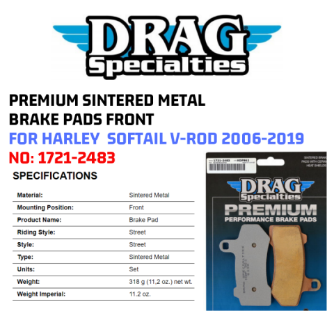Drag Specialties 1721-2469 Premium Sintered Metal Brake Pads Front